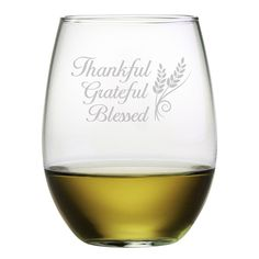 Thankful, Grateful and Blessed. This stemless wine glass set is not only perfect for fall and Thanksgiving, but any time of the year.