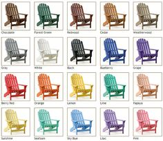 SIESTA Recycled Plastic Furniture - SIESTA Hampton Adirondack Chair    I love the colored ones for around the fire pit.