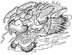 Colouring-in page - answers for samples from 'Creative Haven Asian Tattoo Designs Coloring Book' via Dover Publications ~s~