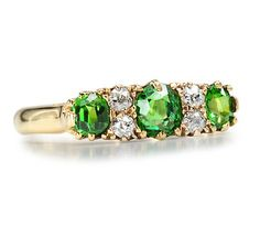 Early Spring: Antique Demantoid Garnet Diamond Ring - The Three Graces