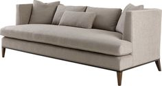 The Presidio Sofa rests on an exposed wood base with optional brass ferrules on the front legs.
