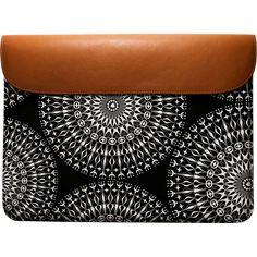 "DailyObjects Geometric Black Mandalas Real Leather Envelope Sleeve For Macbook Pro 15"" #macbook #pro #sleeve #mandala #geometric #pattern #black #white #accessories #leather #elegant #tech"