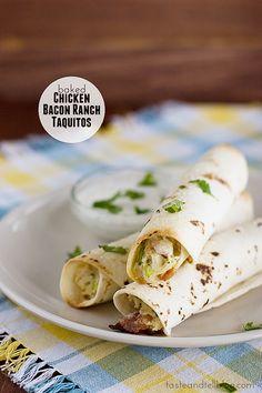 Baked Chicken Bacon Ranch Taquitos | www.tasteandtellblog.com #recipe #chicken #bacon
