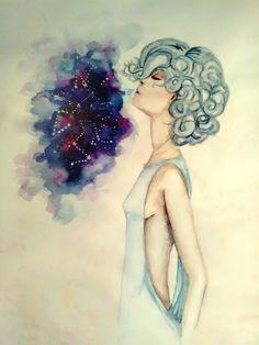 #woman, #watercolor, #art,