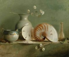 painting with sand dollar, vase and shell-  Ellen Buselli