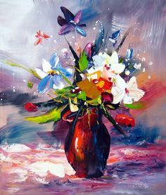 tableau mauve bouquet de fleurs