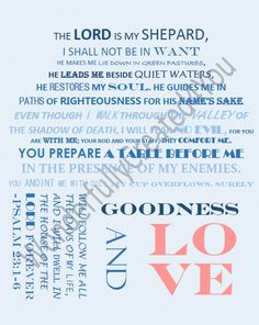 Bible Topography, Lord is my Shepard, Love, Psalm 23:1