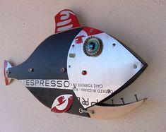 Handmade Fish ,Sea Turtle wall Art Sculptures and More by Unikos Fish Wall Art, Fish Art, Fish Sculpture, Wall Sculptures, Steampunk Theme, Seaside Art, Fisherman Gifts, Junk Art, Fish Design