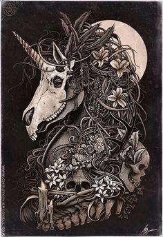 Unicorn skull by Christopher Lovell so intense! Art And Illustration, Fantasy Kunst, Fantasy Art, Unicorn Tattoos, Tatoo Art, Color Tattoo, Art Graphique, Skull Art, Dark Art