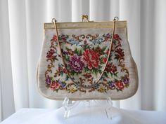 Vintage Petit Point Purse Handbag Floral by PinkLipstickVintage