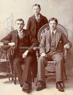 not just for girls!   Cabinet Card Vintage Photo Handsome Young Men Wicker Chair Iowa | eBay