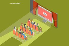 Online cinema isometric concept Graphics Online cinema flat isometric vector concept. People watch online video sitting opposite of computer by AndriiStore
