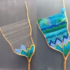 """Weaving big branches is not easy. In opposite to a loom, the warp keeps on moving while you are weaving, becoming loose. In this one (branch """"Aqua""""), I had to tighten the warp at least 5 times."""