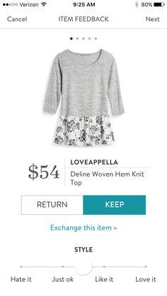 Loveappella Deline Woven Hem Knit Top $54