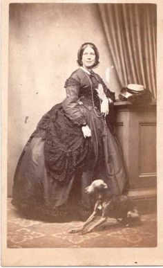 VICTORIAN CDV - LOWESTOFT SUFFOLK LADY WITH VERY THIN WHIPPET / GREYHOUND  DOG