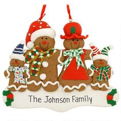 Personalized Gingerbread Family Of 4 Ornament