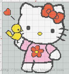 Las chorradikas de Laury: Patrón Hello Kitty punto de cruz 120 cuadraditos. ...