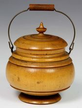 Rare Diminutive Size 19th Century Peaseware Bail Handled Container