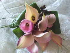 Hand tied calla lily bridal bouquet.
