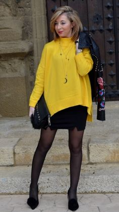 """YELLOW -  As first seen on blog """"Un Vestidor con Ideas"""" here: YELLOW  She is wearing tights similar here: Black 50 Denier Tights These black 50 denier opaque tights are designed with a comfortable knitted waistband. 50 denier opaque tights. Elasticized waistband. Cotton gusset. Reinforced toe seams.  #tights #pantyhose #hosiery #nylons #tightslover #pantyhoselover #nylonlover #legs"""