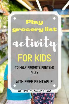 FREE, printable pretend play grocery lists for your toddler or preschooler to use in their play kitchen.   #pretendplay #toddler #preschool #kids Outdoor Activities For Toddlers, Printable Activities For Kids, Toddler Learning Activities, Holiday Activities, Toddler Preschool, Fun Learning, Preschool Activities, Preschool Scavenger Hunt, Printable Shopping List