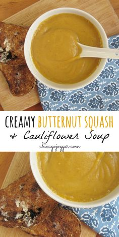 Creamy Butternut Squash & Cauliflower Soup - the perfect dinner recipe for fall | chicagojogger.com