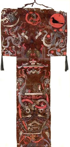 Funeral banner of Lady Dai (Xin Zhui). Chinese Painting, Chinese Art, Ap Art History 250, Chinese Ornament, Funeral Ceremony, Banner, Art Curriculum, Ancient China, Silk Painting