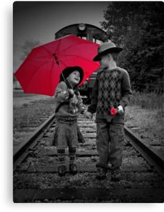 Children black and white with red umbrella - ☯ /WhoLoves/Black-White-Color ☯ Splash Photography, Color Photography, Black And White Photography, Color Splash, Color Pop, Red Umbrella, Under My Umbrella, Black White Red, Black White Photos