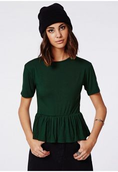 Missguided - Mahala Peplum T Shirt Deep Green