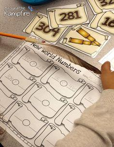 Mayflower Math & Pilgrim Parts of Speech - Around the Kampfire Math Blocks, Maths Puzzles, Math Stations, Math Centers, Common And Proper Nouns, Math Crafts, Comparing Numbers, Thanksgiving Math, Eureka Math