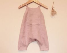 Handmade baby romper. Light pink washed linen romper. Girls romper. Toddler romper. Baby romper. Summer romper. Dungarees. Overalls. ............................................................................................................................ This beautiful, pale dusky