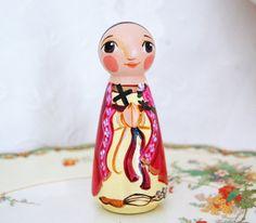 St Vivian Catholic Saint Doll  Wooden Toy  Made by SaintAnneStudio, $48.00