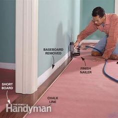 Step by step, how to lay engineered hardwood floors. Such a great DIY website!  Photo 3: Nail the first piece