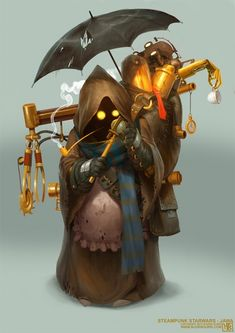 Artist Bjorn Hurri is back with a new addition to his Star Wars Steampunk art series. This time he brings us a character design for a Jawa. You can see his Steampunk Vader here and the rest of his awesome collection here . Rpg Star Wars, Nave Star Wars, Steampunk Characters, Star Wars Characters, Monster Characters, Steampunk Architecture, Steampunk Kunst, Steampunk Armor, Style Steampunk