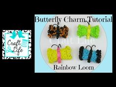 Rainbow Loom BUTTERFLY Charm on 1 looM. Designed and loomed by Jacy at Craft Life. Click photo for YouTube tutorial. 07/11/14.
