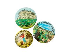Vintage British Holiday Souvenir Badges - Dartmoor / Cheddar Gorge / Blackgang Isle-of-Wight