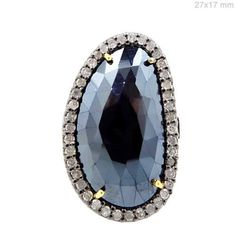 Black Spinel Gemstone Diamond Pave 14k Gold Ring US7 925 Silver Designer Jewelry