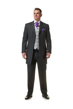 Grey Prince Edward suit with purple cravat and pocket square - http://formallyyours.co.uk/  #wedding #suit #tailoring
