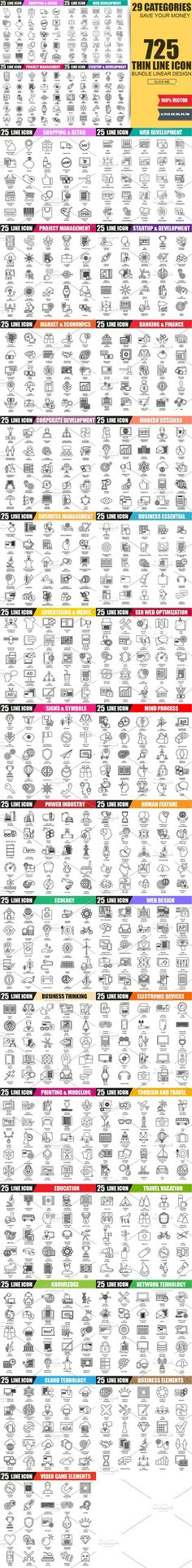 Bundle Thin Line Business Icons. Human Icons. $32.00