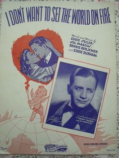 1941 I Don't Want To Set The World On Fire Sheet Music by cindyscozyclutter on Etsy