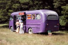 awesome purple bus, New Zealand. caravan vintage retro trailer diy
