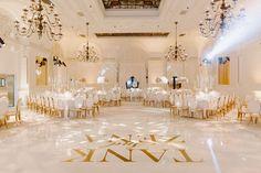 "r&b singer durrell ""tank"" babbs & zena foster wedding, white dance floor with gold letters Wedding Motif Color, Wedding Motifs, Wedding Colors, Wedding Reception, Our Wedding, Wedding Venues, Wedding White, Wedding Ceremonies, Gold Framed Mirror"