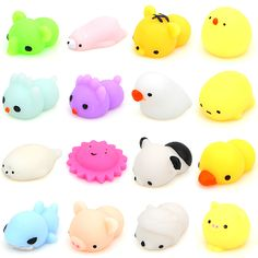 16 Pcs/Box Kawaii Animal Slow Rising Squishy Panda/tiger/pig/sheep/duck/rabbit/chick Cute Phone Straps Soft Bread Cake Kids Toy