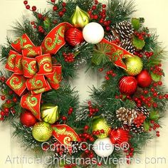 Winter Welcome Wreath - 2014 - Our beautiful Winter Welcome Wreath has snow tipped fir, red and gold balls, red berries, pinecones, and is finished with a lovely colorful bow. #ChristmasWreath