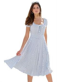 5055ea8292 Plus Size Flared Peasant Dress Casual Formal Dresses