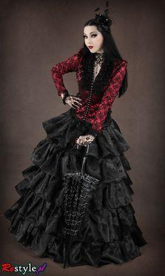 Neo-Victorian Goth dress with a flamenco flair