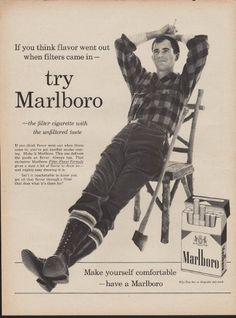 """1960 MARLBORO CIGARETTES Ad """"Filters Came In"""""""