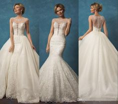 2017 Amelia Sposa Lace Wedding Dresses with Mermaid Two Pieces Detachable Skirt Sheer Beaded Scoop Neck…