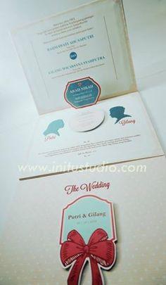 Peach and Ribbon Pop Up Invitation > http://initustudio.com/undangan-pernikahan-unik-kreatif/