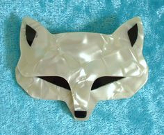 ~ Rare LEA STEIN Large FOX HEAD Cream Moire HANDCRAFTED Brooch PARIS Pin Signed #LEASTEIN